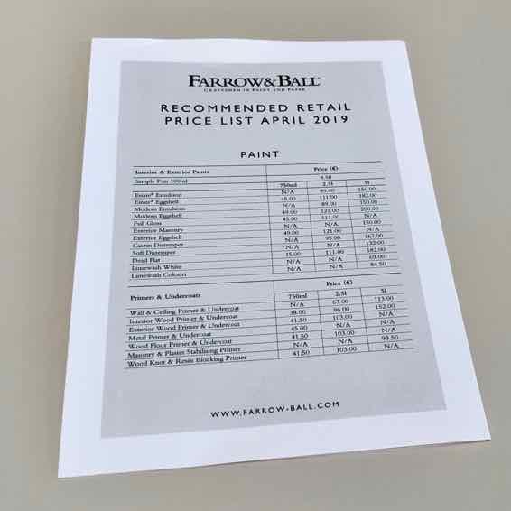 Preisliste Farrow and Ball