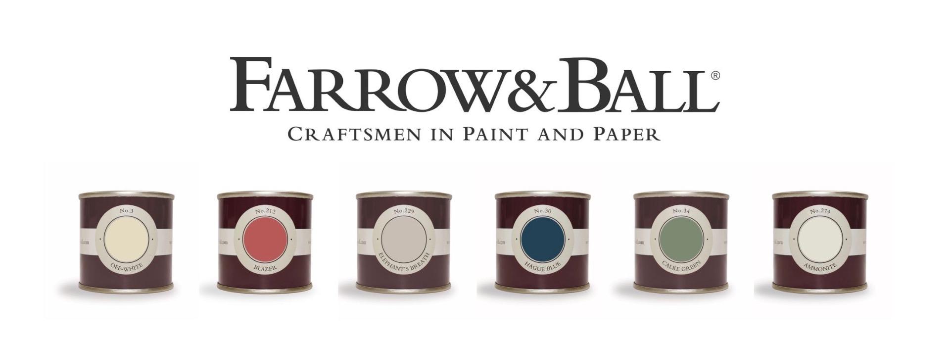 Logo Farrow and Ball mit Probedosen