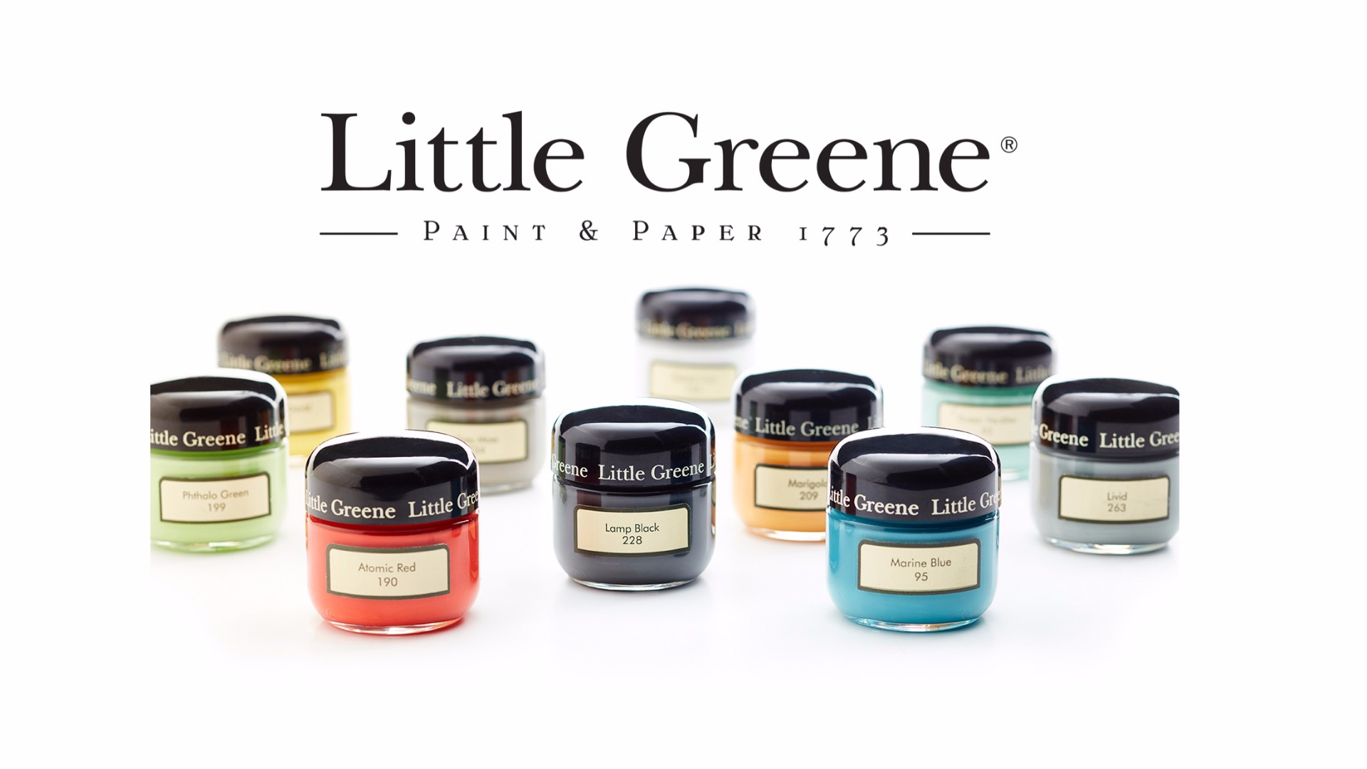 Little Greene Logo mit Probedosen